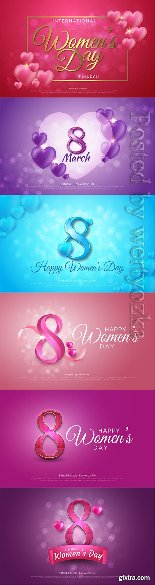 Vector editable text effect, women's day 8 march with flowers