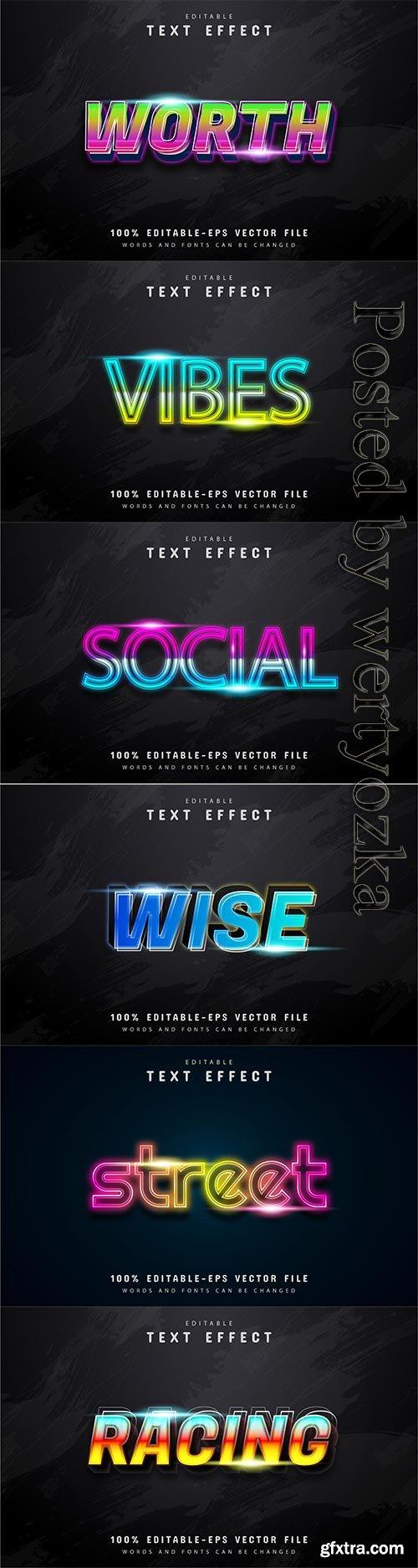 3d editable text style effect vector vol 211