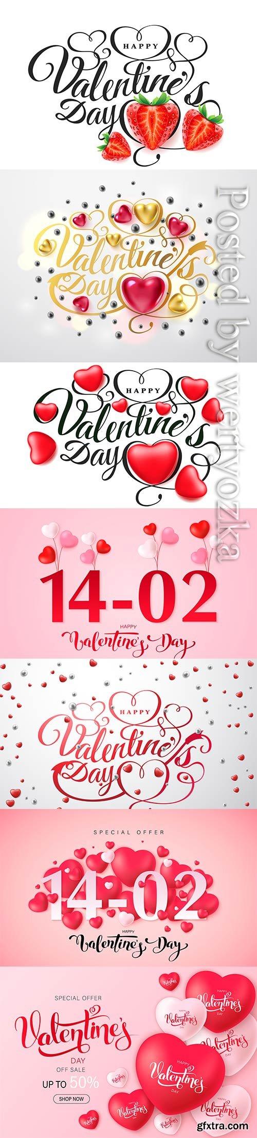 Happy valentine's day vector greeting card design