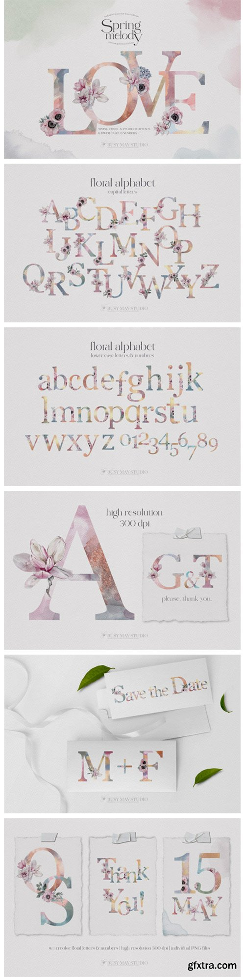 Watercolor Floral Alphabet Numbers PNG 7635111