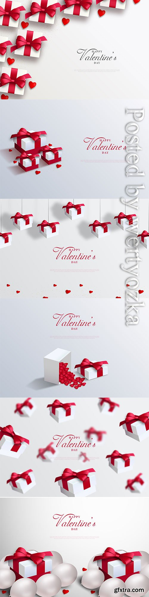 Valentine day vector card with love balloons and gift box