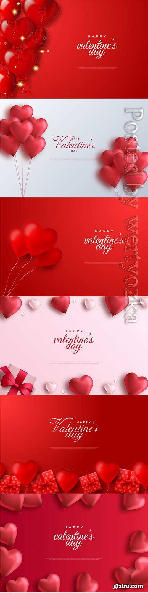 Valentine day vector background with red balloons