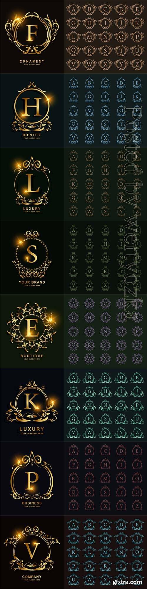 Luxury vector alphabet ornament, floral frame, golden logo template