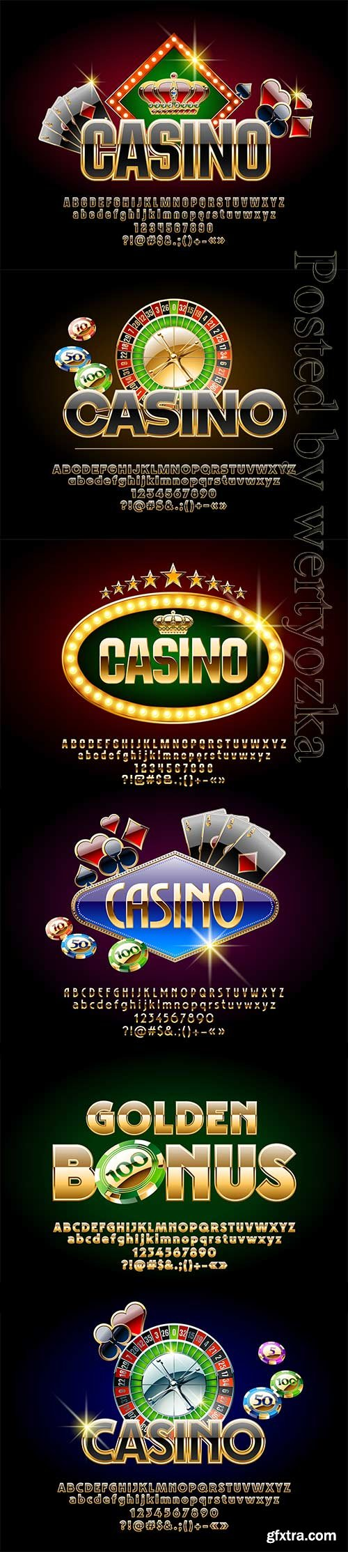 Casino vector letters, numbers and symbols