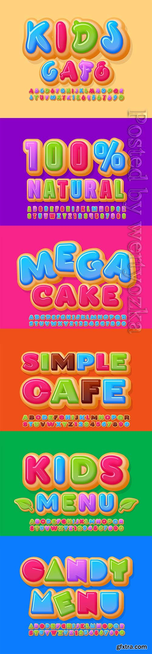 Vector creative banner kids cafe, alphabet letters and numbers