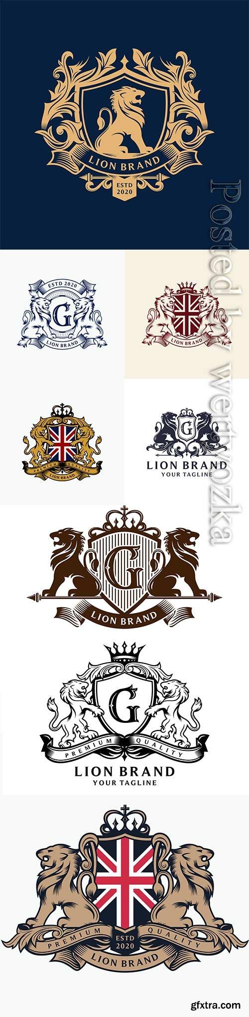 Heraldry lion brand logo design premium vector