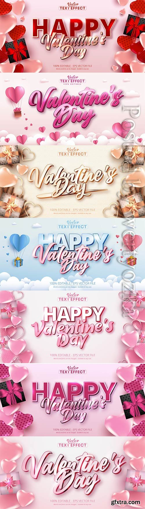 Valentine text effects style with hearts in vector