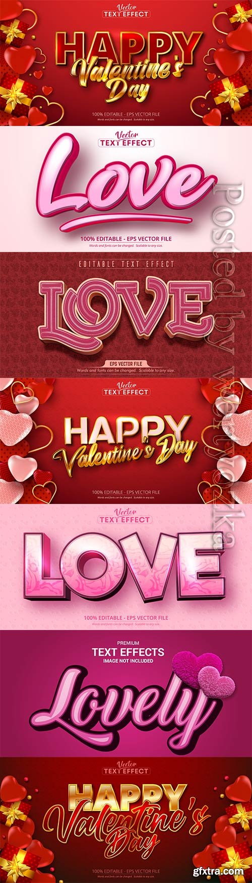 Valentine text effects style in vector with hearts