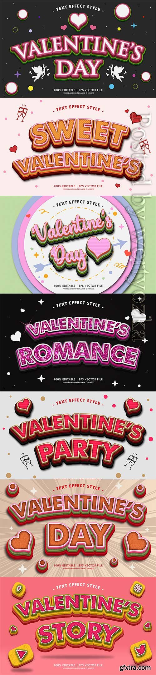 Valentine romance text effects style in vector