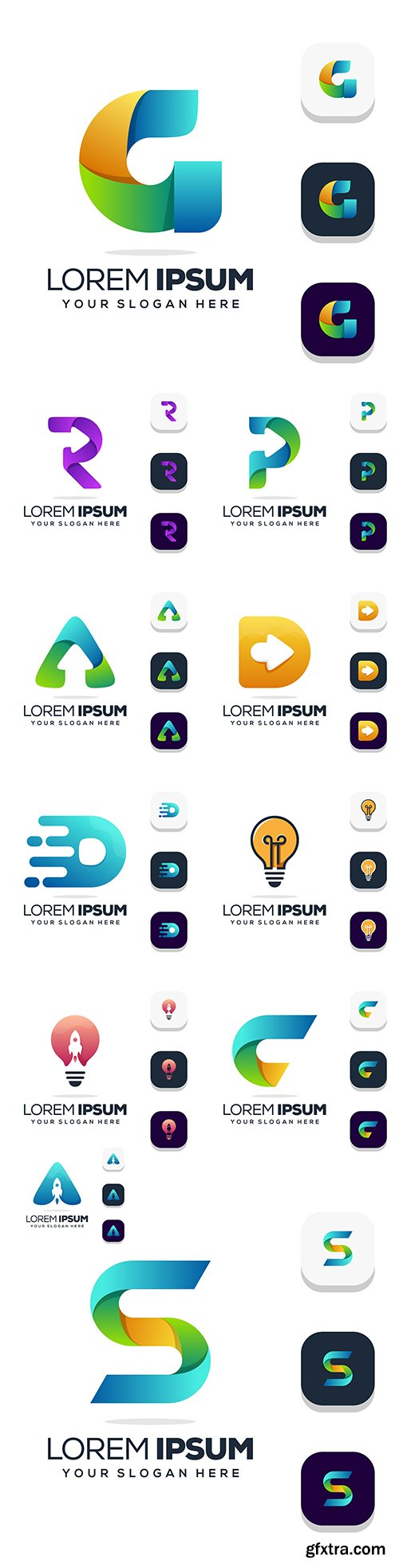 Capital letter business logo design and icons