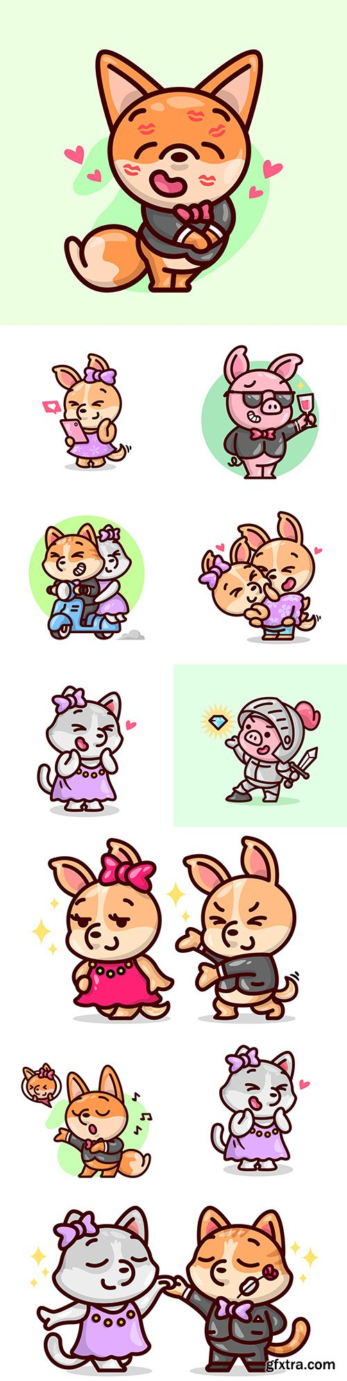 Cute animals in fashionable outfit painted design