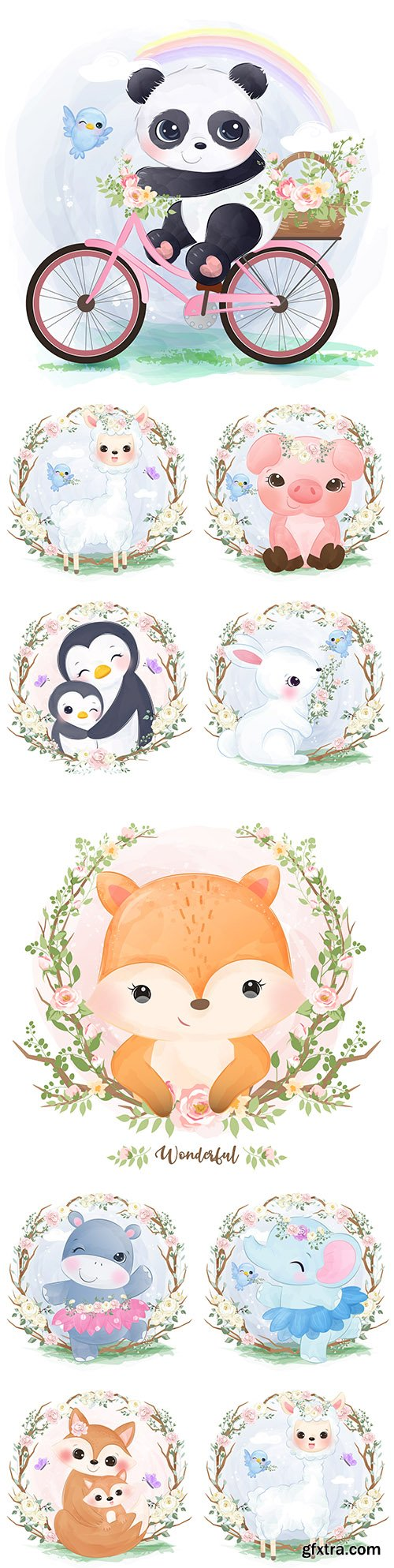 Cute animal mother and baby in flower frame watercolor illustration