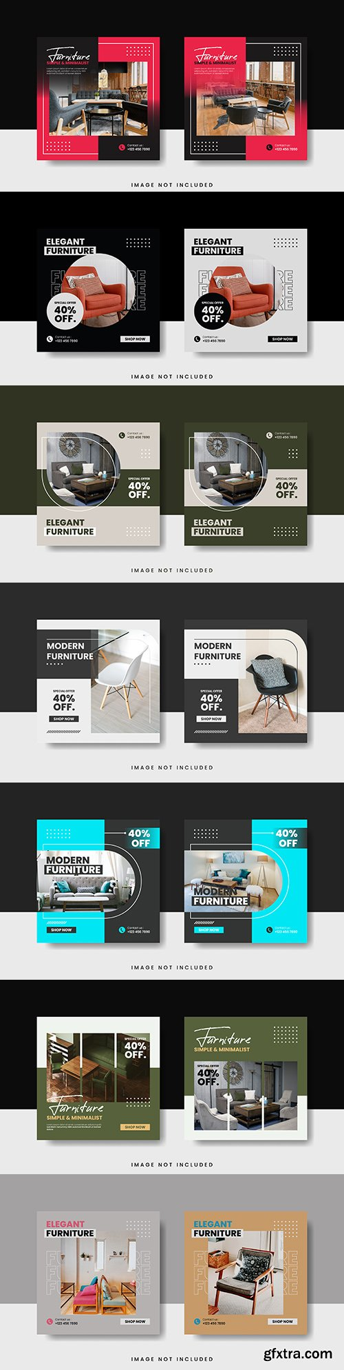 Elegant furniture for social media design template