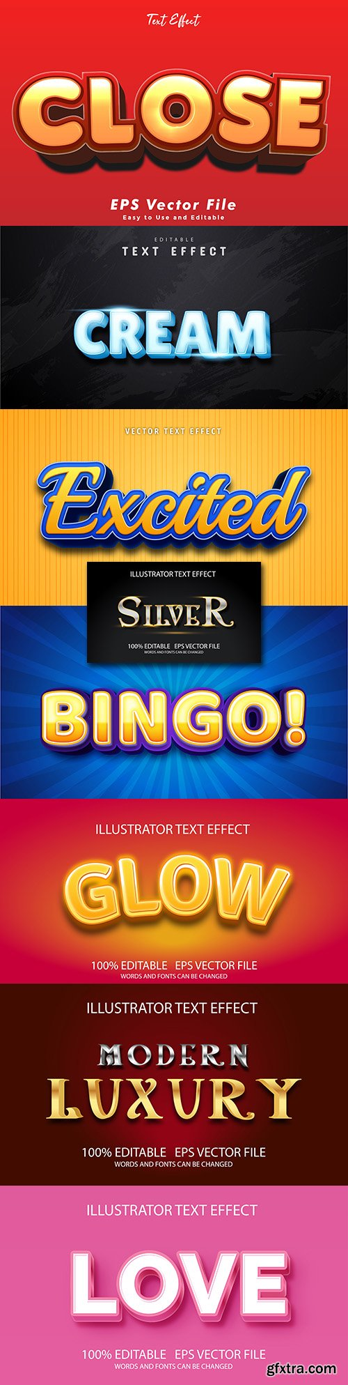 Editable font and 3d effect text design collection illustration 4