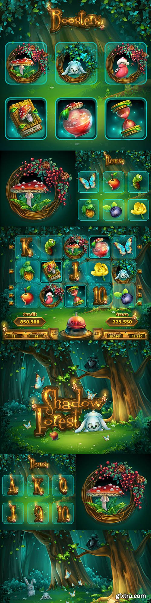 Set of computer game interface items shadowy forest