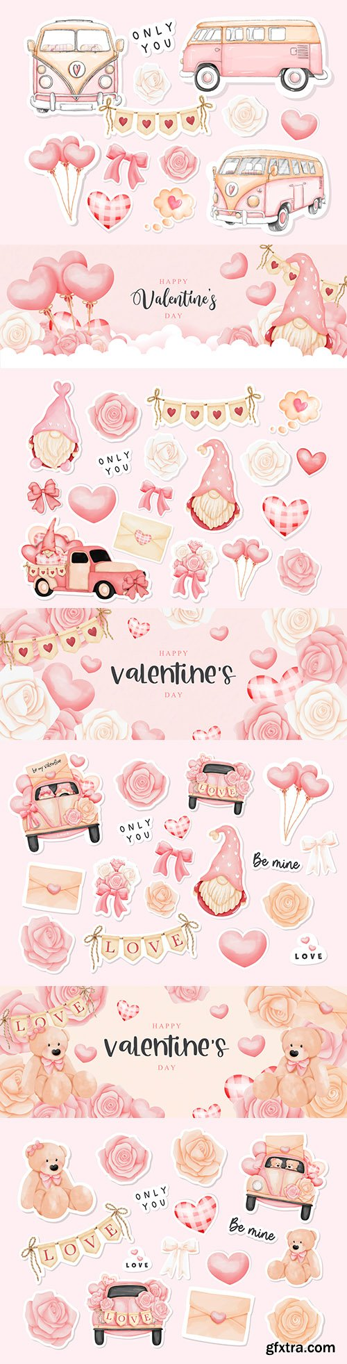 Happy Valentine's Day with elements and gnome watercolor stickers