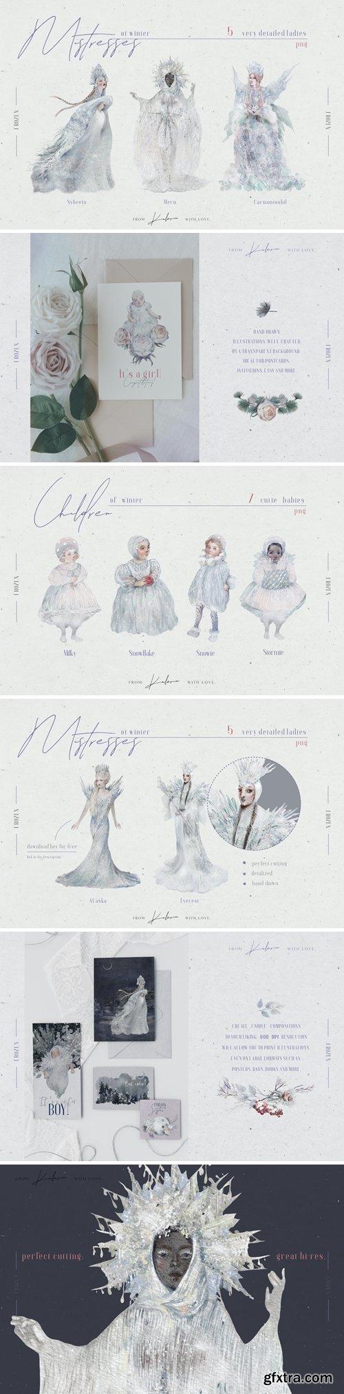 Winter ladies - watercolor ladies and babies