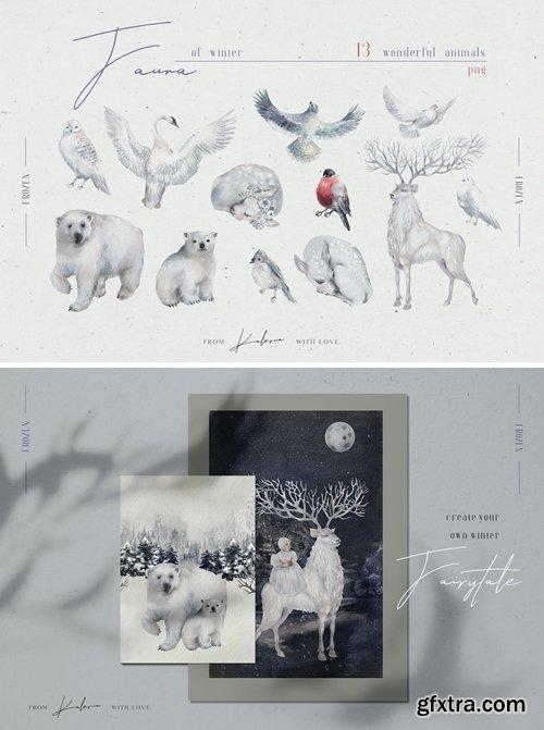 Winter fauna - watercolor animals illustrations