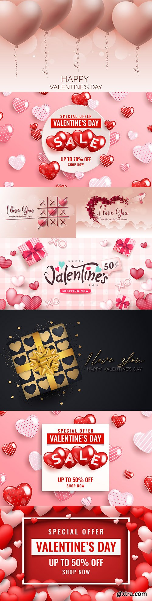 Happy Valentine's Day design banner sale with hearts