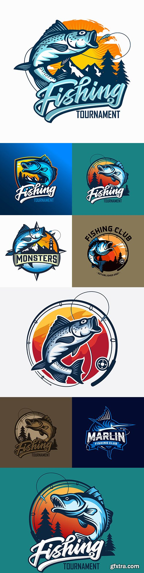 Fishing club logos design company business 2