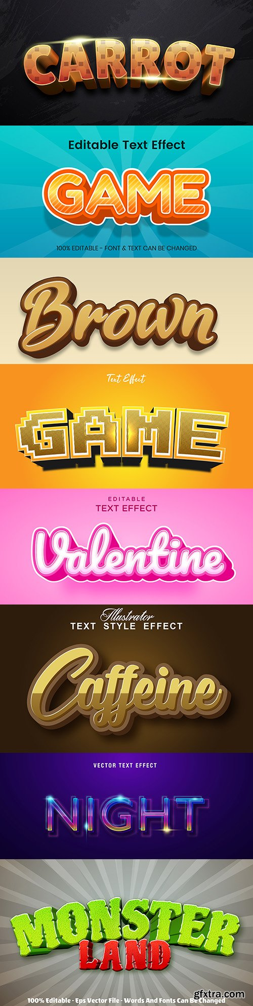 Editable font and 3d effect text design collection illustration 6