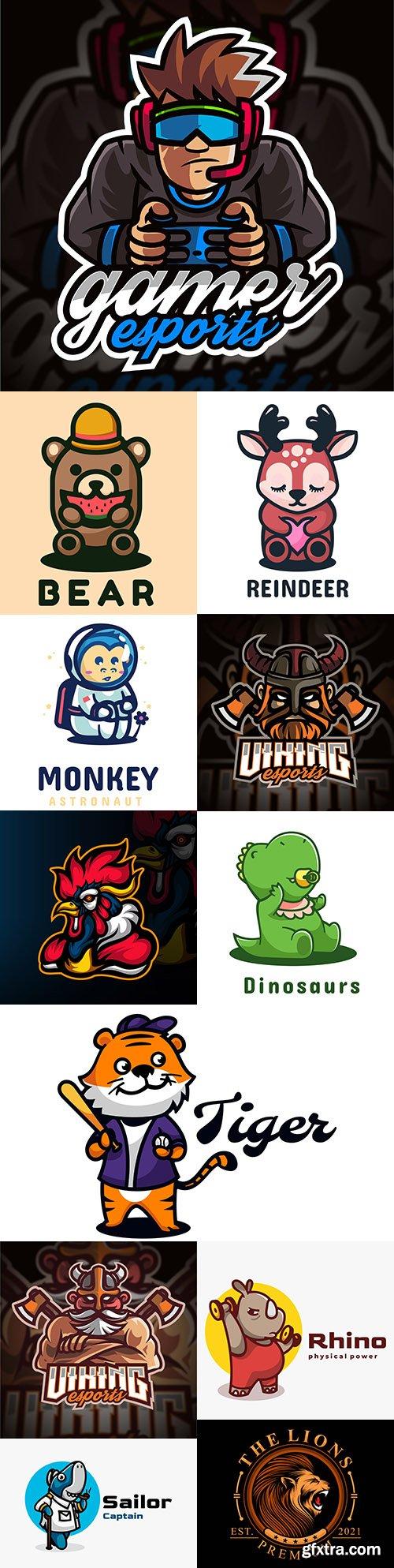Mascot emblem and brand name logos design 2
