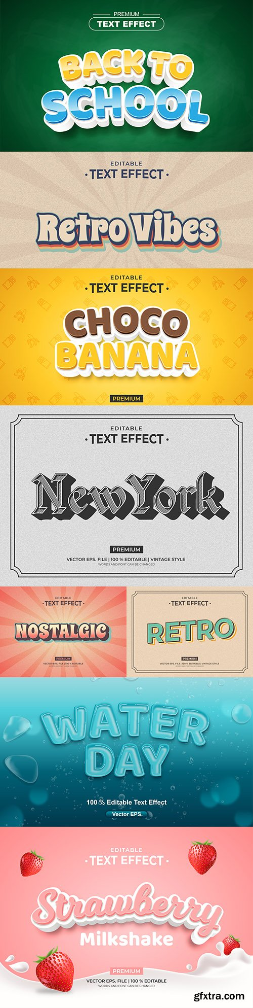 Editable font and 3d effect text design collection illustration 7