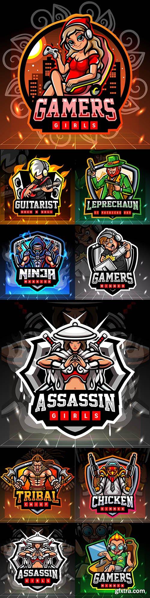 Mascot emblem gaming design cybersport illustration