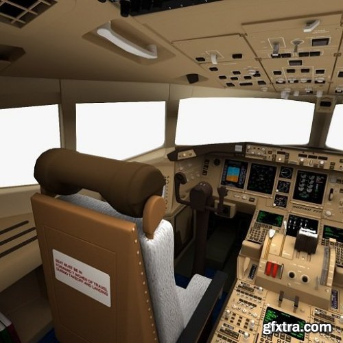 Turbosquid - Boeing 777 Cockpit 3d Model
