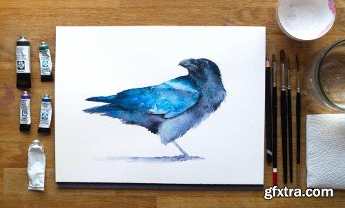 Raven. A Free-Flow Watercolour Master Class with Jane Davies
