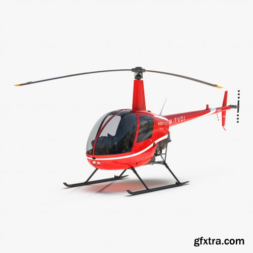 Turbosquid - Helicopter Robinson R22 Red