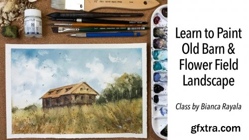 Old Barn and Flower Field Landscape Painting in Watercolor