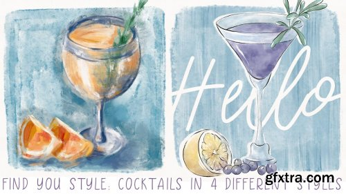 Find your style: 4 cocktails in different styles - digital illustration in Procreate on Ipad