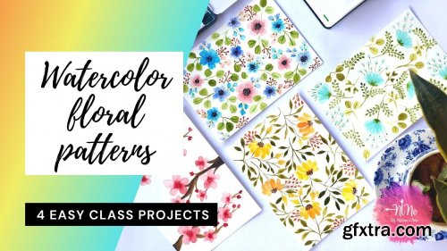 Watercolour Floral Pattern + 4 Class Projects