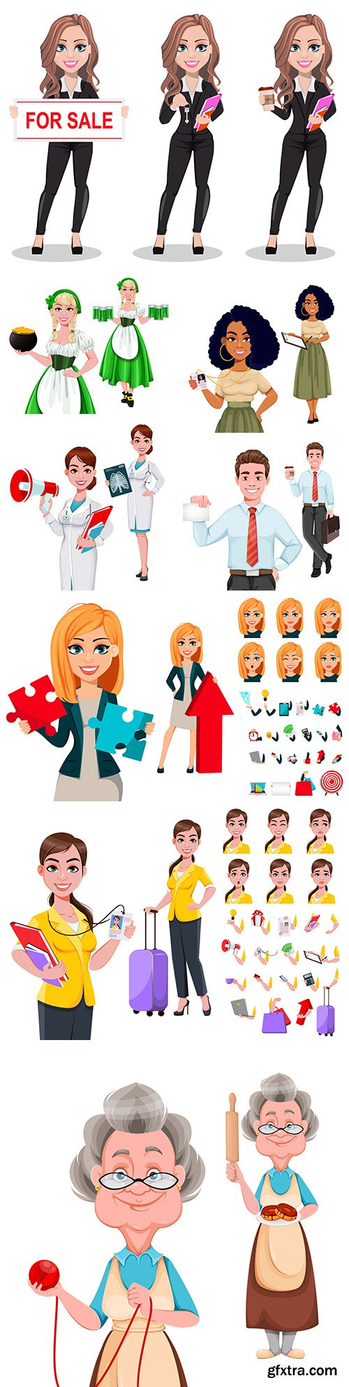 People cartoon character illustrating different professions