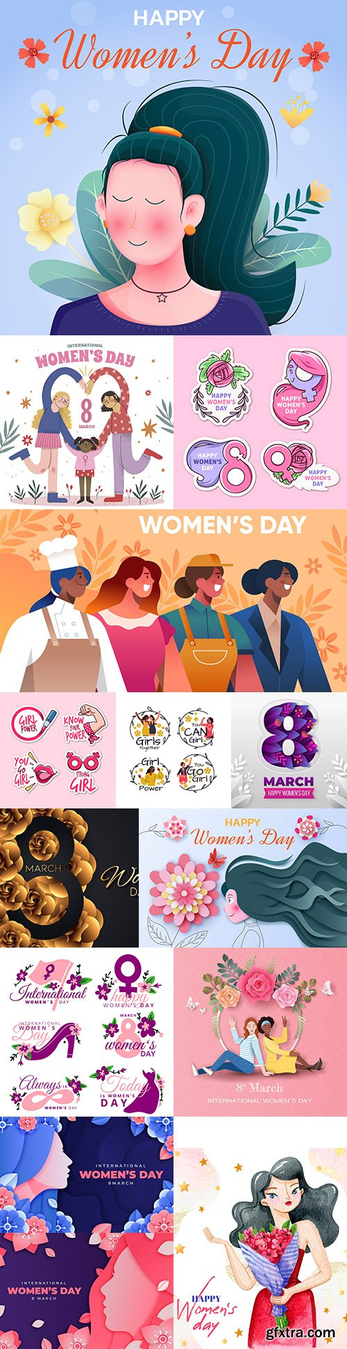 Happy Women's Day March 8 painted illustrations 3