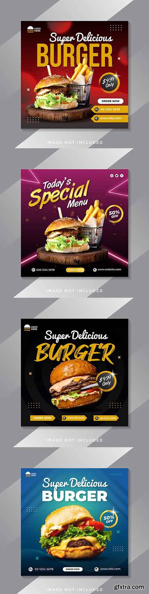Social media message template about food menu and burger restaurant