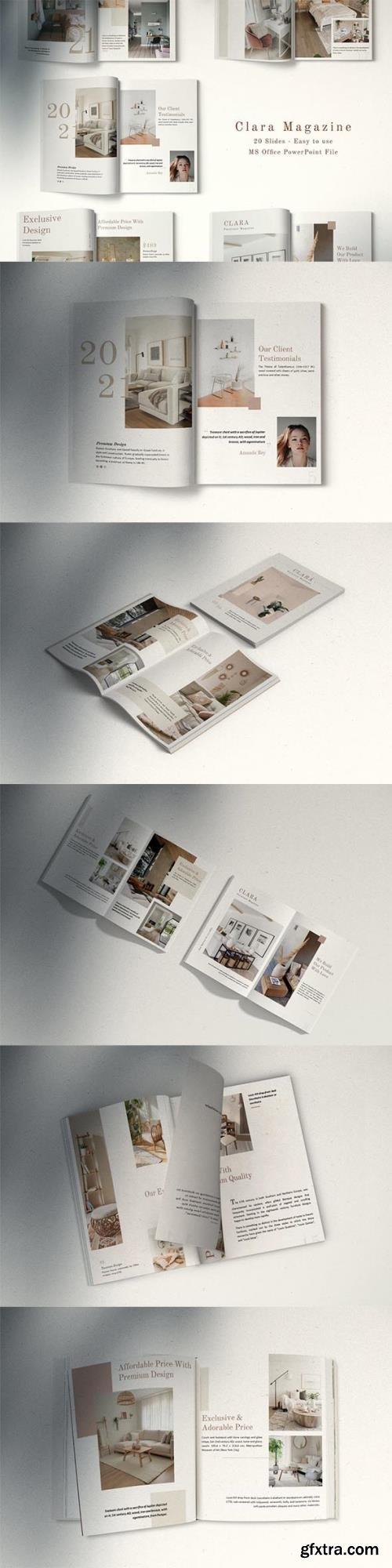 Clara Minimalist Magazine Layout Powerpoint, Keynote and Google Slides Template