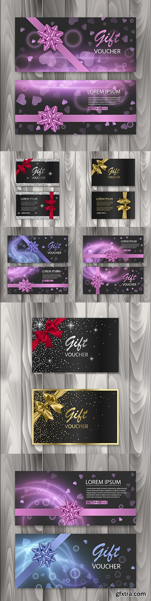Voucher gift certificate and banners with abstract design