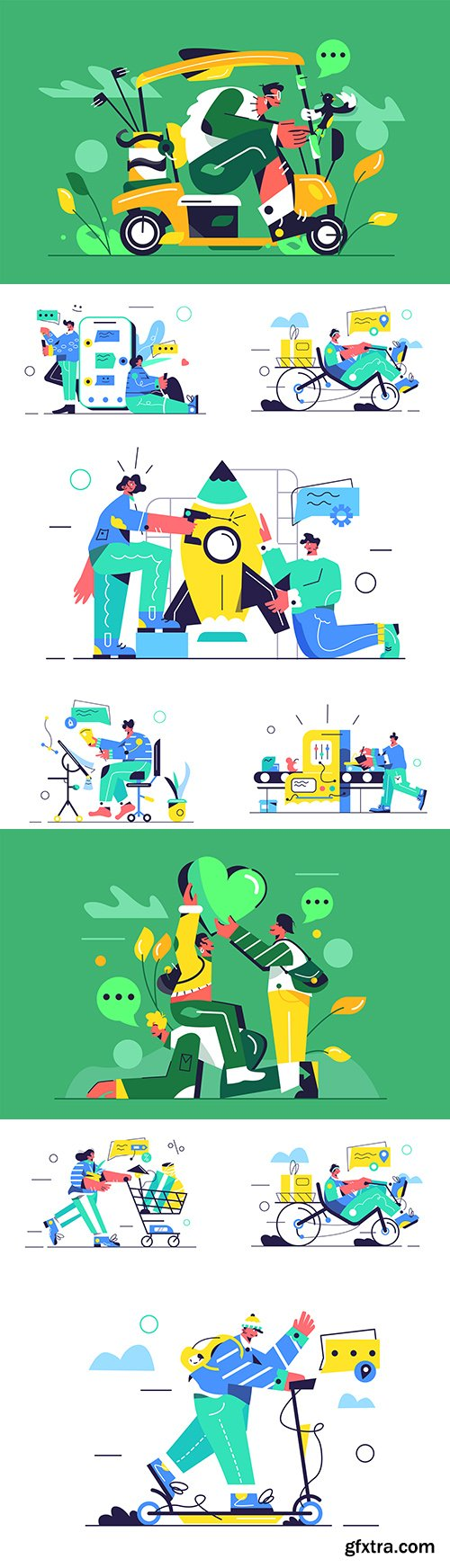 Young girl and guy in the store, at work illustrations flat design