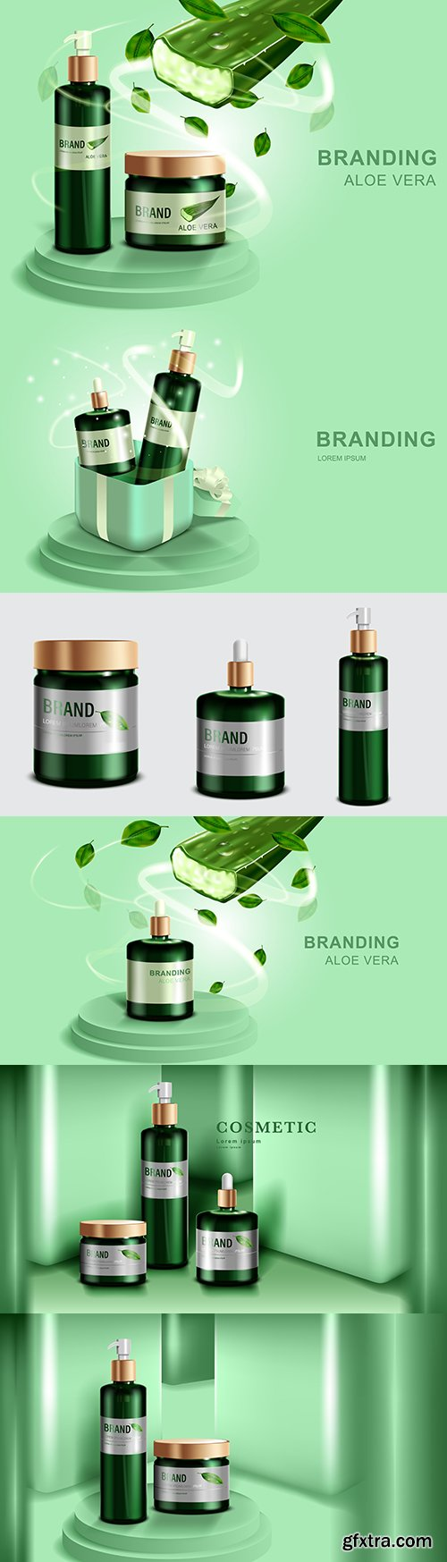 Cosmetics and skin care products model green bottle