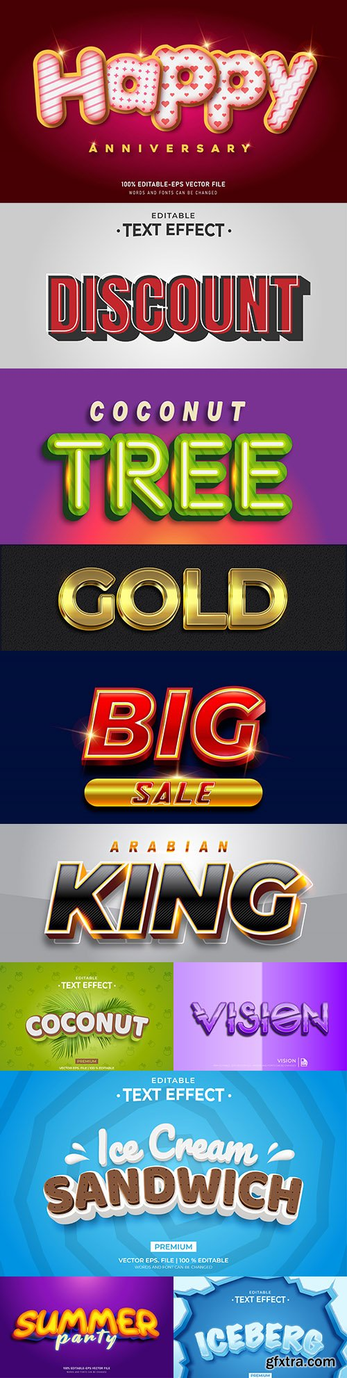 Editable font and 3d effect text design collection illustration 1