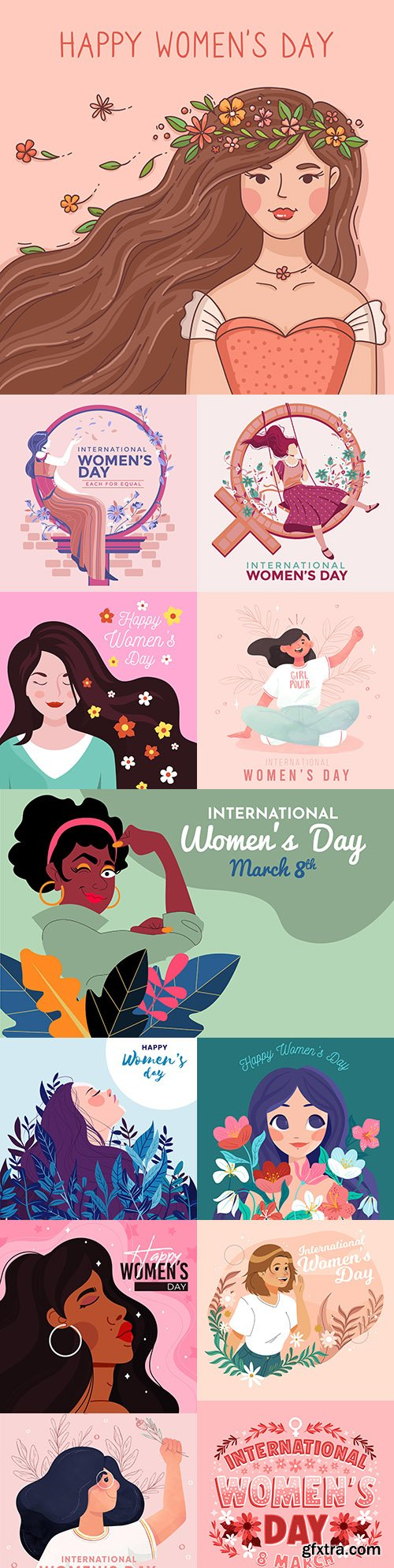 Happy Women's Day March 8 design illustrations 5