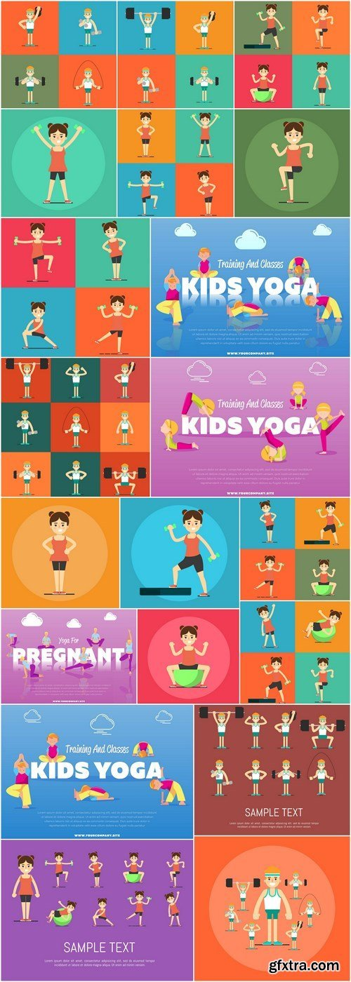 Kids yoga and sport - 22xEPS