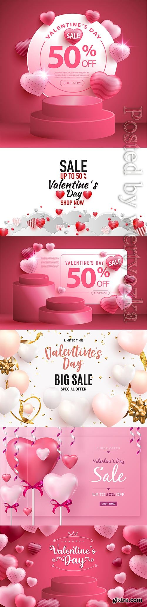 Sale happy valentine's day with realistic hearts