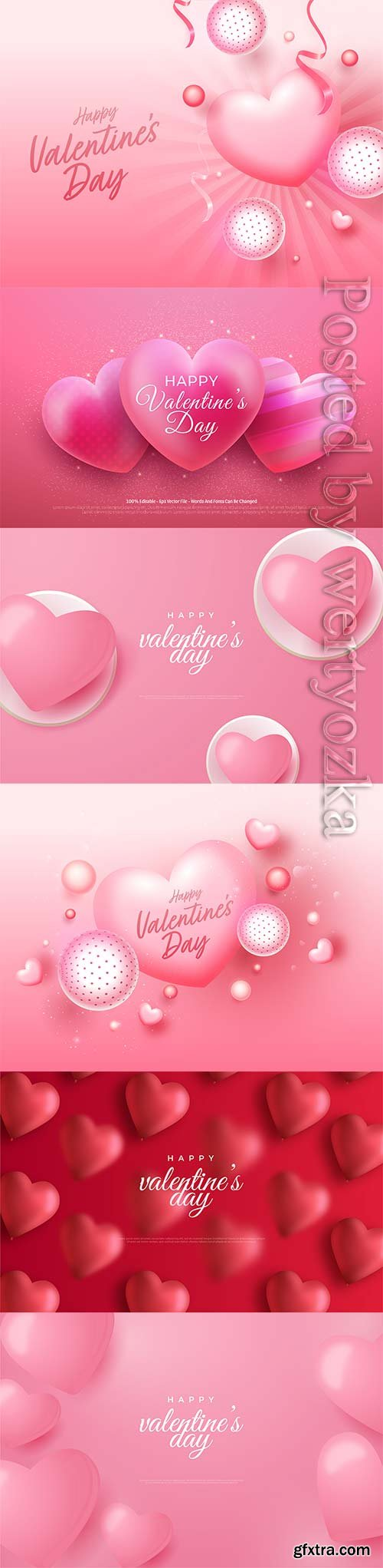 Valentine's day with realistic vector hearts