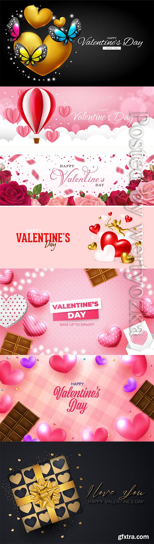 Happy valentine's day with realistic hearts in vector