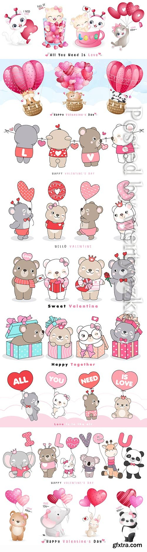 Cute funny doodle animals for valentine's day illustration