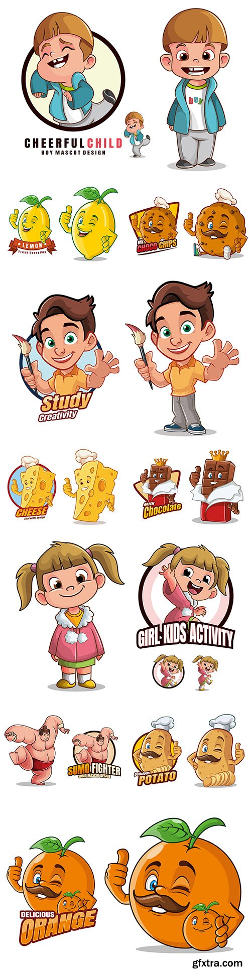 Mascot funny cartoon character design illustration 2