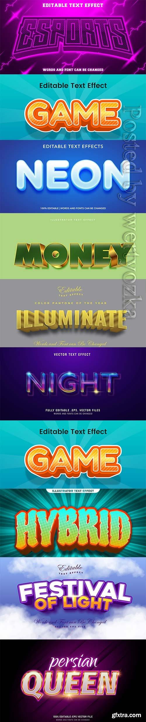 3d editable text style effect vector vol 250